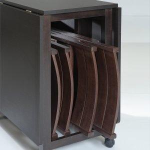 tavolo consolle peghevole ed allungabile con contenitore sedie