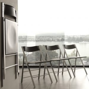 Sedia pieghevole in alluminio colore grigio
